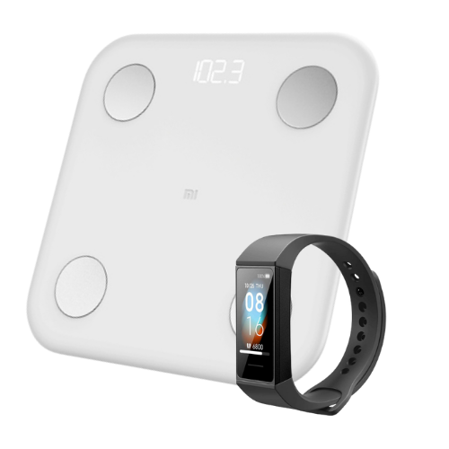 [INN04461] Combo Báscula Xiaomi Mi Body Composition Scale 2 + Smartwatch Xiaomi Mi Smart Band 4c Negro