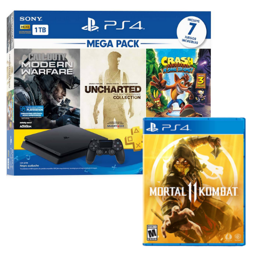 [INN0701] Consola Sony PlayStation 4 Mega Pack 2 + Juego Mortal Kombat 11 Ps4