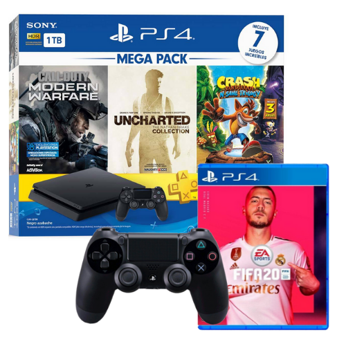 [INN0702] Combo Consola Sony PlayStation 4 Mega Pack 2 + Juego Fifa 20 Ps4 + Control Ps4