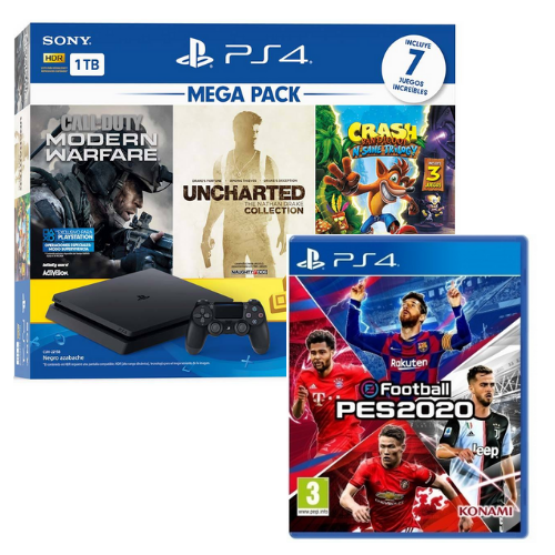 [INN0704] Combo Consola Sony PlayStation 4 Mega Pack 2 + Juego Pes 2020 Ps4