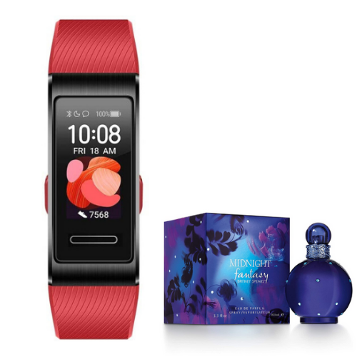 [INN01858] Combo SmartWatch Huawei Band 4 Pro Roja + Perfume Midnight Fantasy Britney Spears 100ml Mujer